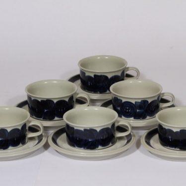 Arabia Anemone teekupit, sininen, 6 kpl, suunnittelija Ulla Procope, käsinmaalattu, signeerattu