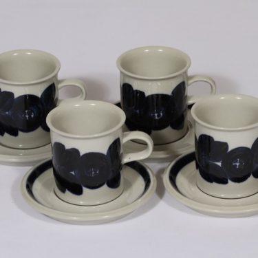 Arabia Anemone kahvikupit, sininen, 4 kpl, suunnittelija Ulla Procope, käsinmaalattu