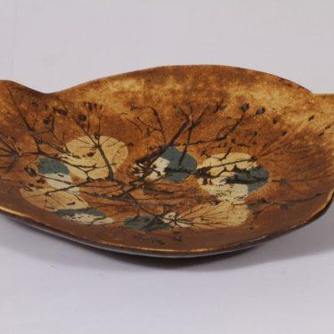 Arabia taide-esine, ruskea, suunnittelija Francesca Lindh, käsinmaalattu, käsin muotroiltu, signeerattu