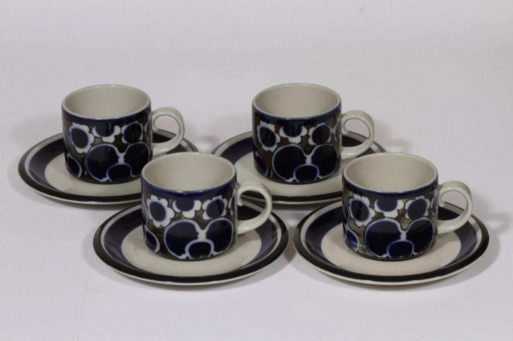 Arabia Saara kahvikupit, sininen, 4 kpl, suunnittelija Anja Jaatinen-Winquist, erikoiskoriste, retro