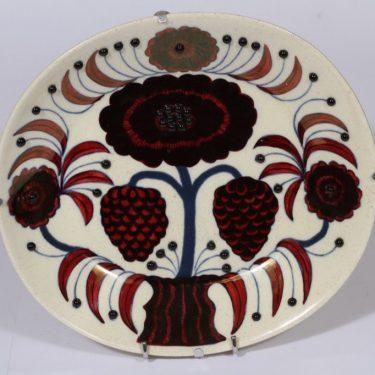 Arabia Rose seinälautanen, numeroitu, suunnittelija Birger Kaipiainen, numeroitu, signeerattu, lysteri, helmikoriste