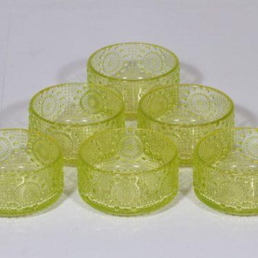 Riihimäen lasi Grapponia jälkiruokakulhot, keltainen, 6 kpl, suunnittelija Nanny Still,