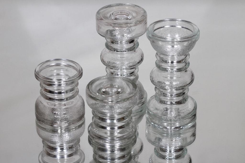 Riihimäen lasi Carmen kääntömaljakot, eri kokoja, 4 kpl, suunnittelija Tamara Aladin, eri kokoja