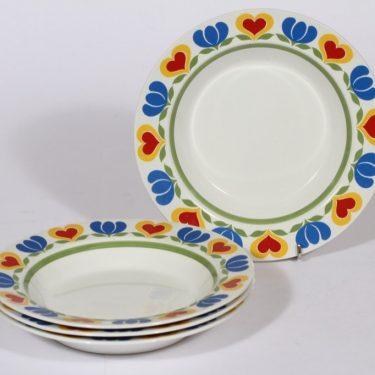Arabia Könni lautaset, syvä, 4 kpl, suunnittelija , syvä, serikuva, retro