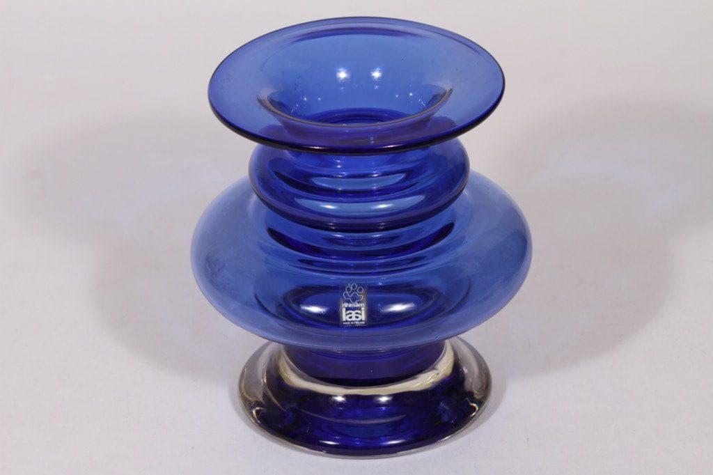 Riihimäen lasi Tornado maljakko, sininen, suunnittelija Tamara Aladin, signeerattu