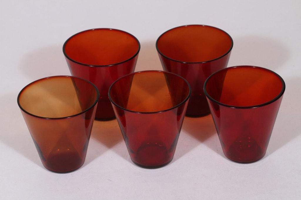 Nuutajärvi Kartio lasit, 20 cl, 5 kpl, suunnittelija Kaj Franck, 20 cl
