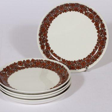 Arabia Suhina leivoslautaset, ruskea, 5 kpl, suunnittelija , serikuva, retro