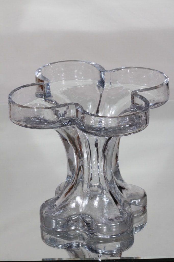 Riihimäki glass, Onnenlehti vase, clear, Helena Tynell