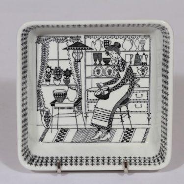 Arabia Emilia kulho, mustavalkoinen, suunnittelija , pieni, kuparipainokoriste