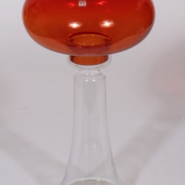 Riihimäen lasi Majakka kynttilälyhty, punainen, suunnittelija Nanny Still, suuri