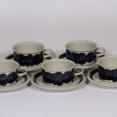 Arabia Anemone teekupit, sininen, 5 kpl, suunnittelija , käsinmaalattu, signeerattu