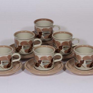 Arabia Koralli kahvikupit, vaaleanpunainen, 6 kpl, suunnittelija , käsinmaalattu, kukka-aihe