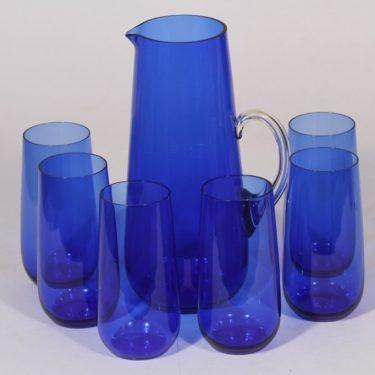 Kumela kaadin ja lasit, sininen, 1+6 kpl, suunnittelija Sirkku Kumela-Lehtonen, 1.3 l , 35 cl