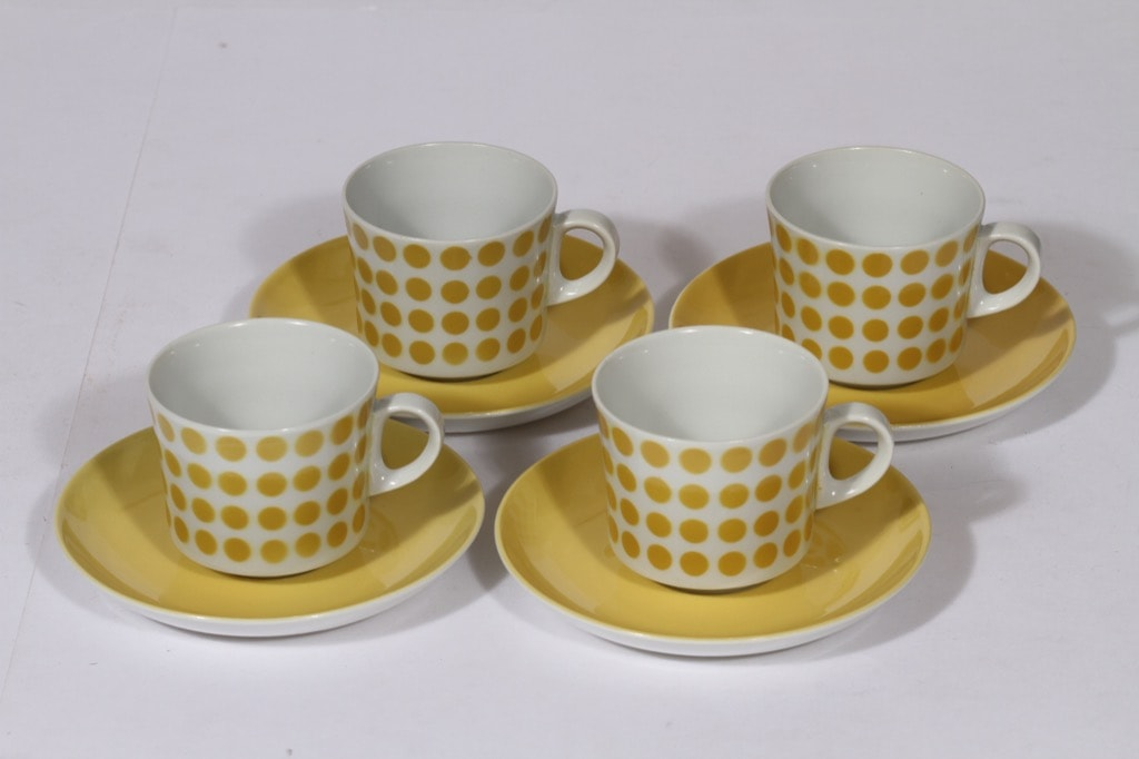 Arabia Pop kahvikupit, keltainen, 4 kpl, suunnittelija , puhalluskoriste, retro