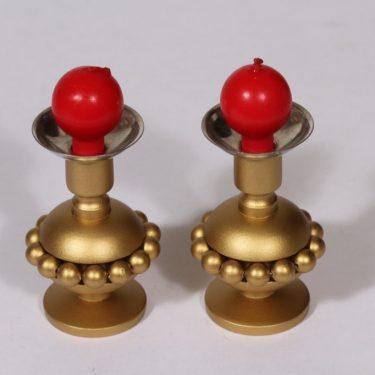 Aarikka Helmiriikkinen kynttilänjalat, 2 kpl, suunnittelija , pieni, kultamaalaus