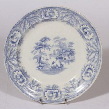 Albion Pottery lautanen, matala, suunnittelija , matala, kuparipainokoriste, maisema-aihe