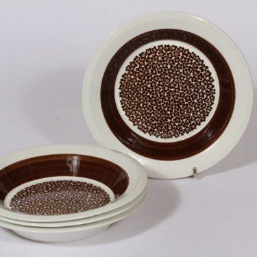 Arabia Faenza lautaset, ruskea, 4 kpl, suunnittelija , syvä, serikuva
