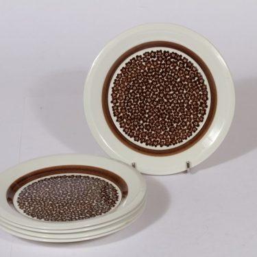 Arabia Faenza lautaset, ruskea, 5 kpl, suunnittelija , pieni, serikuva