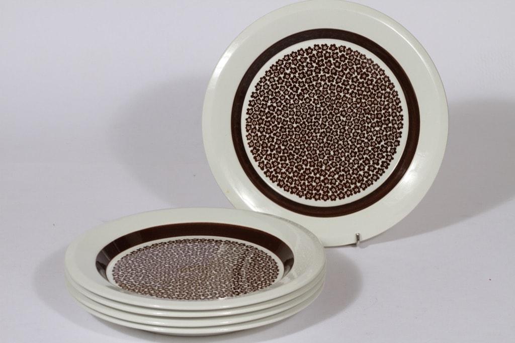 Arabia Faenza ruokalautaset, ruskea, 5 kpl, suunnittelija , matala, serikuva