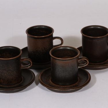 Arabia Ruska kahvikupit, ruskea, 4 kpl, suunnittelija , ruskea lasite