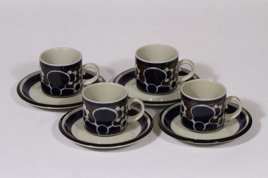 Arabia Saara kahvikupit, sininen, 4 kpl, suunnittelija , erikoiskoriste, retro