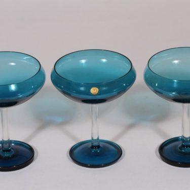 Riihimäen lasi Harlekiini jälkiruokakulhot, sininen, 3 kpl, suunnittelija Nanny Still, jalallinen