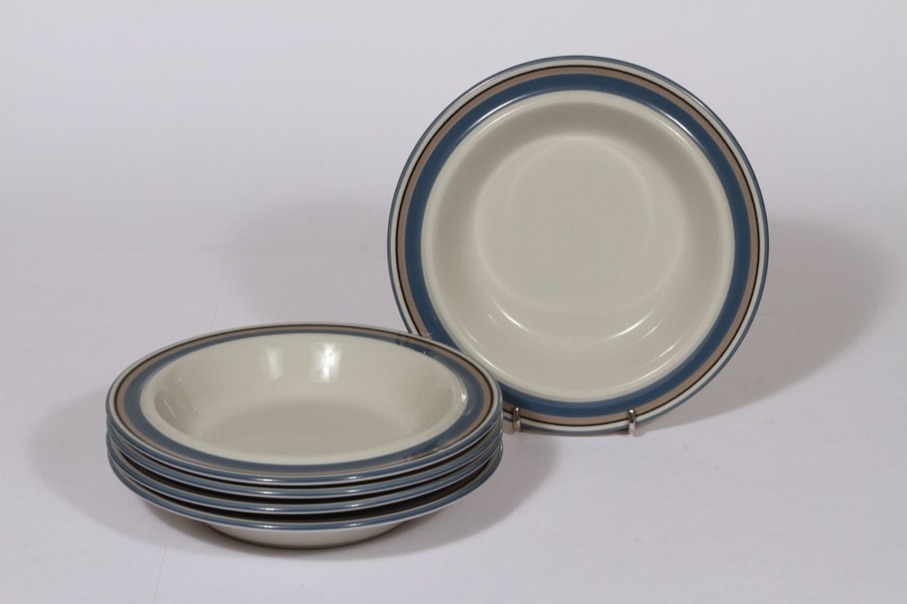 Arabia Uhtua lautaset, sininen, 6 kpl, suunnittelija , syvä, raitakoriste