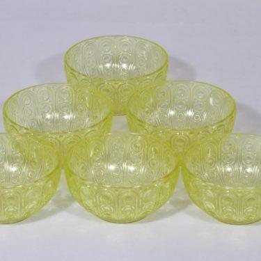 Riihimäen lasi Riikinkukko annoskulhot, keltainen, 6 kpl, suunnittelija Nanny Still,