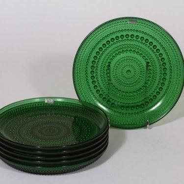 Nuutajärvi Kastehelmi lautaset, vihreä, 6 kpl, suunnittelija Oiva Toikka, pieni