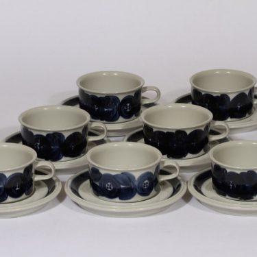 Arabia Anemone teekupit, sininen, 7 kpl, suunnittelija , käsinmaalattu, signeerattu