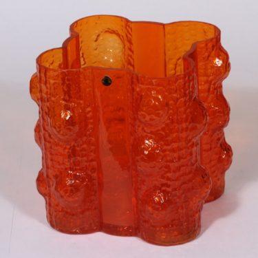 Riihimäen lasi Quadrifolia maljakko, oranssi, suunnittelija Nanny Still, suuri, massiivinen, retro