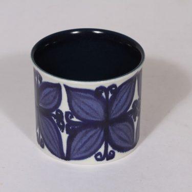 Arabia maljakko, sininen, suunnittelija Hilkka-Liisa Ahola, pieni, käsinmaalattu, signeerattu