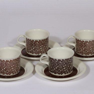 Arabia Faenza kahvikupit, ruskea, 4 kpl, suunnittelija , serikuva