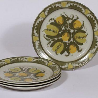 Arabia PW lautaset, kukka-aihe, 4 kpl, suunnittelija , kukka-aihe, matala, käsinmaalattu, signeerattu