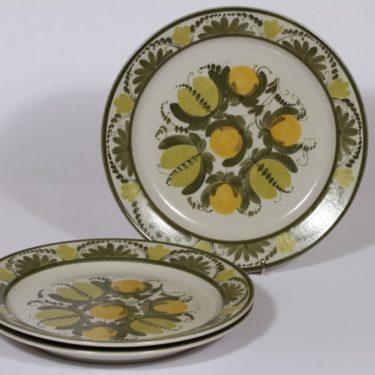Arabia PW lautaset, kukka-aihe, 3 kpl, suunnittelija , kukka-aihe, matala, käsinmaalattu, signeerattu