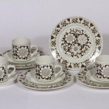 Arabia Gardenia kahvikupit ja lautaset, ruskea, 4 kpl, suunnittelija , serikuva, retro