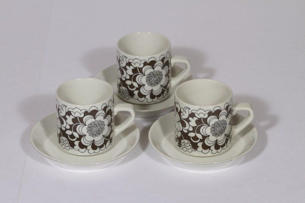 Arabia Gardenia kahvikupit, ruskea, 3 kpl, suunnittelija , serikuva, retro