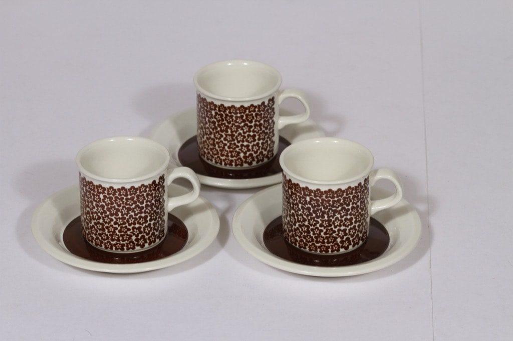 Arabia Faenza mokkakupit, ruskea, 3 kpl, suunnittelija , serikuva