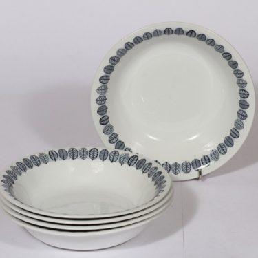 Arabia Linnea lautaset, harmaa, 5 kpl, suunnittelija , syvä, serikuva
