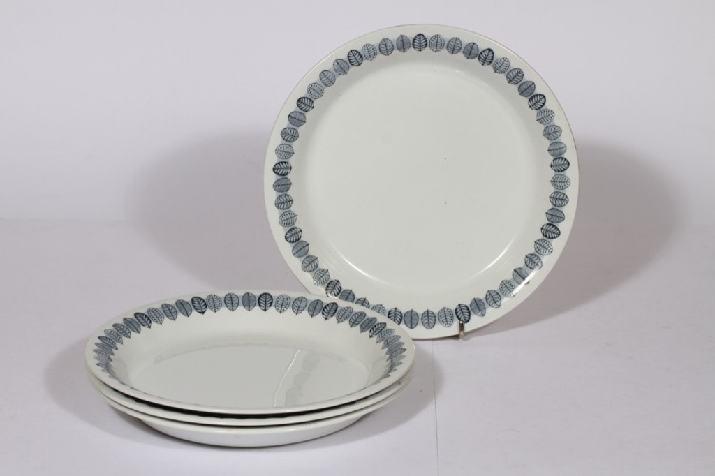 Arabia Linnea lautaset, harmaa, 4 kpl, suunnittelija , matala, serikuva