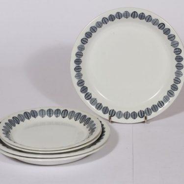 Arabia Linnea lautaset, harmaa, 5 kpl, suunnittelija , pieni, serikuva