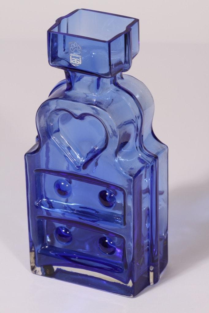 Riihimäen lasi Piironki  maljakko, sininen, suunnittelija Helena Tynell,