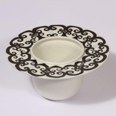 Arabia koriste-esine, mustavalkoinen, suunnittelija Hilkka-Liisa Ahola, käsinmaalattu, signeerattu