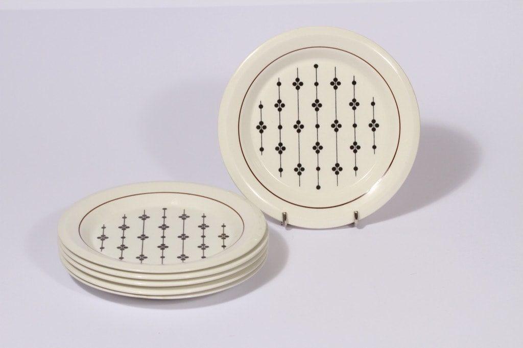 Arabia Kartano leivoslautaset, mustavalkoinen, 6 kpl, suunnittelija , serikuva