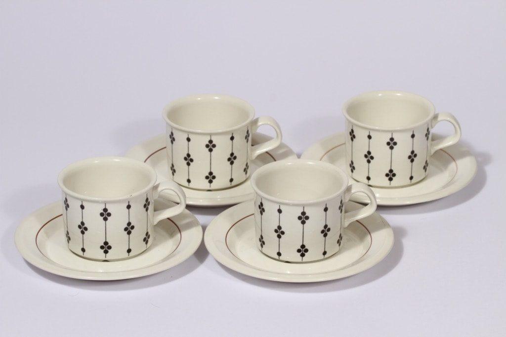 Arabia Kartano kahvikupit, mustavalkoinen, 4 kpl, suunnittelija , serikuva