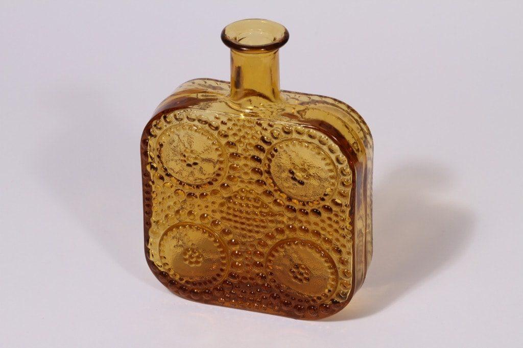 Riihimäen lasi Grapponia koristepullo, amber, suunnittelija Nanny Still,