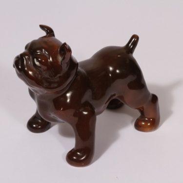 Arabia eläinfiguuri, Buldoggi K 50, suunnittelija Lea von Mickwitz, Buldoggi K 50, koira-aihe, käsinmaalattu