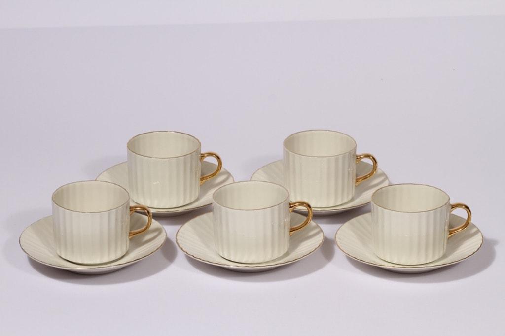 Arabia Kultakorva kahvikupit, 5 kpl, suunnittelija , kullattu