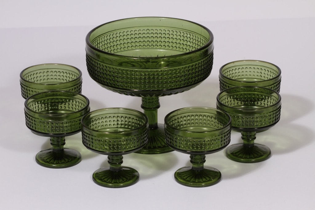 Riihimäen lasi Barokki kulho ja jälkiruokakulhot, vihreä, 6 kpl, suunnittelija Erkkitapio Siiroinen,