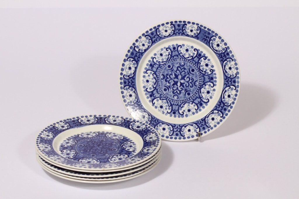 Arabia Ali lautaset, sininen, 6 kpl, suunnittelija , pieni, kuparipainokoriste